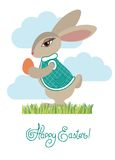 Rabbit and easter egg. Greeting card. Color vector illustration Royalty Free Stock Photo