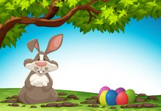 Rabbit and easter egg in nature. Illustration royalty free illustration