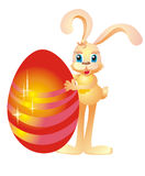 Rabbit and Easter egg, vector illustration  Royalty Free Stock Images