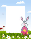 Rabbit with Easter Egg Vertical Frame stock photography