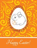Rabbit with Easter egg. Vintage design for Easter greeting card. Illustration Stock Photo