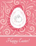 Rabbit with Easter egg. Vintage design for greeting card. Illustration Royalty Free Stock Photos