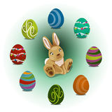 Rabbit and easter eggs Stock Image