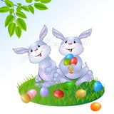 Rabbit with Easter eggs. Stock Photo