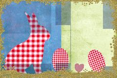Rabbit and  Easter eggs childlike style card royalty free stock photography