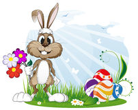 Rabbit with Easter eggs and flowers Royalty Free Stock Images
