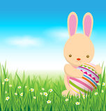 Rabbit and easter eggs on green grass Stock Images