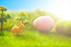 Rabbit and easter eggs in green grass with blue sky. Royalty Free Stock Photo