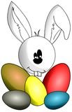 isolated Rabbit with colorful Easter eggs Stock Photo