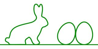 Rabbit with Easter eggs one line - vector. Rabbit with Easter eggs one line - stock vector royalty free illustration