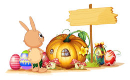 A rabbit, easter eggs, a pumpkin and an empty signboard Royalty Free Stock Image