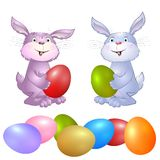 Rabbit with Easter eggs. Stock Photos