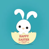 Rabbit easter and eggshell. White rabbit in half eggshell with text  happy easter on blue background Stock Photography