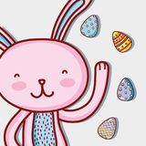 Rabbit easter happy celebration holiday. Vector illustration Stock Photos