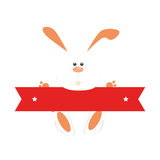 Rabbit easter holding red ribbon Royalty Free Stock Photo
