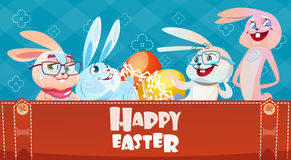 Rabbit Easter Holiday Bunny Decorated Eggs Greeting Card Royalty Free Stock Image