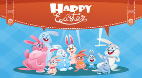 Rabbit Easter Holiday Bunny Decorated Eggs Greeting Card Stock Images