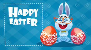 Rabbit Easter Holiday Bunny Hold Decorated Eggs Greeting Card Royalty Free Stock Photos