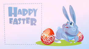 Rabbit Easter Holiday Bunny Hold Decorated Eggs Greeting Card Royalty Free Stock Images