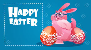 Rabbit Easter Holiday Bunny Hold Decorated Eggs Greeting Card Stock Images