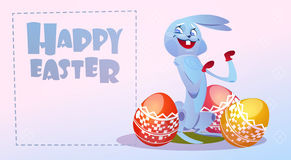 Rabbit Easter Holiday Bunny Hold Decorated Eggs Greeting Card Royalty Free Stock Photo