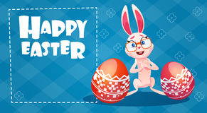 Rabbit Easter Holiday Bunny Hold Decorated Eggs Greeting Card Royalty Free Stock Photography