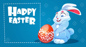 Rabbit Easter Holiday Bunny Hold Decorated Eggs Greeting Card Stock Photo