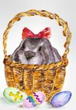 Rabbit for Easter holiday. An easter rabbit in a basket by a holiday vector illustration