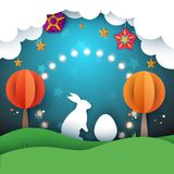 Rabbit, easter illustration. Cartoon paper landscape. Rabbit, easter illustration. Cartoon paper landscape Vector eps 10 vector illustration
