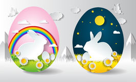 Rabbit easter with nighttime and daytime in egg shape. Sunflower nature,.paper art style Stock Photography