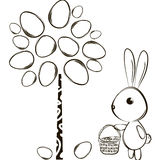 Rabbit and Easter tree Royalty Free Stock Photo