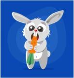 The rabbit eats the carrot. stock illustration