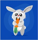 The rabbit eats the carrot. vector illustration