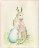 Rabbit with egg. The image of a rabbit with egg in traditional style on the  old paper Royalty Free Stock Images