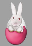 Rabbit on Egg. Rabbit on the pink Egg drawing stock illustration