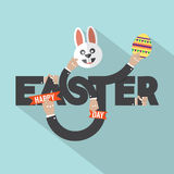 Rabbit, Egg In Hand Easter Typography Design Royalty Free Stock Photos