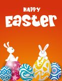 Rabbit and eggs in Easter day.Bunny Ears. Vector royalty free illustration