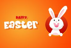 Rabbit and eggs in Easter day.Bunny Ears. Vector stock illustration