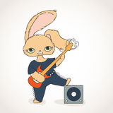 Rabbit with electric guitar. Vector rock music illustration. Stock Photo