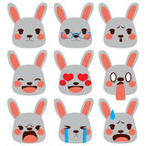 Rabbit Emoji Expressions Stock Photos
