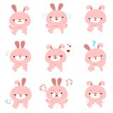 Rabbit with different emotions cartoon vector. royalty free illustration