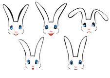 Rabbit face illustrations Royalty Free Stock Image