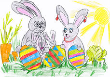 Rabbit family on meadow with eggs. child drawing. Stock Photo