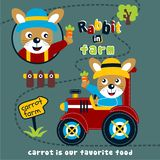 Rabbit in the farm funny animal cartoon,vector illustration. For t shirt and wallpaper or book stock illustration