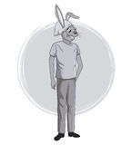 Rabbit fashion animal hipster white and grey design Stock Image