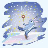 Rabbit Figure Skater Stock Images