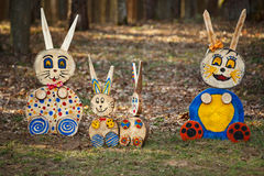 Rabbit figures in the forest royalty free stock photography