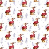 Rabbit and firtrees, winter hand drawn background, watercolor seamless pattern. Rabbit and firtrees, winter hand drawn simple  background, watercolor seamless Royalty Free Stock Photo