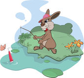 Rabbit the fisherman. Cartoon Stock Photography