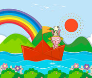 Rabbit fishing in paperboat in the river Royalty Free Stock Photo